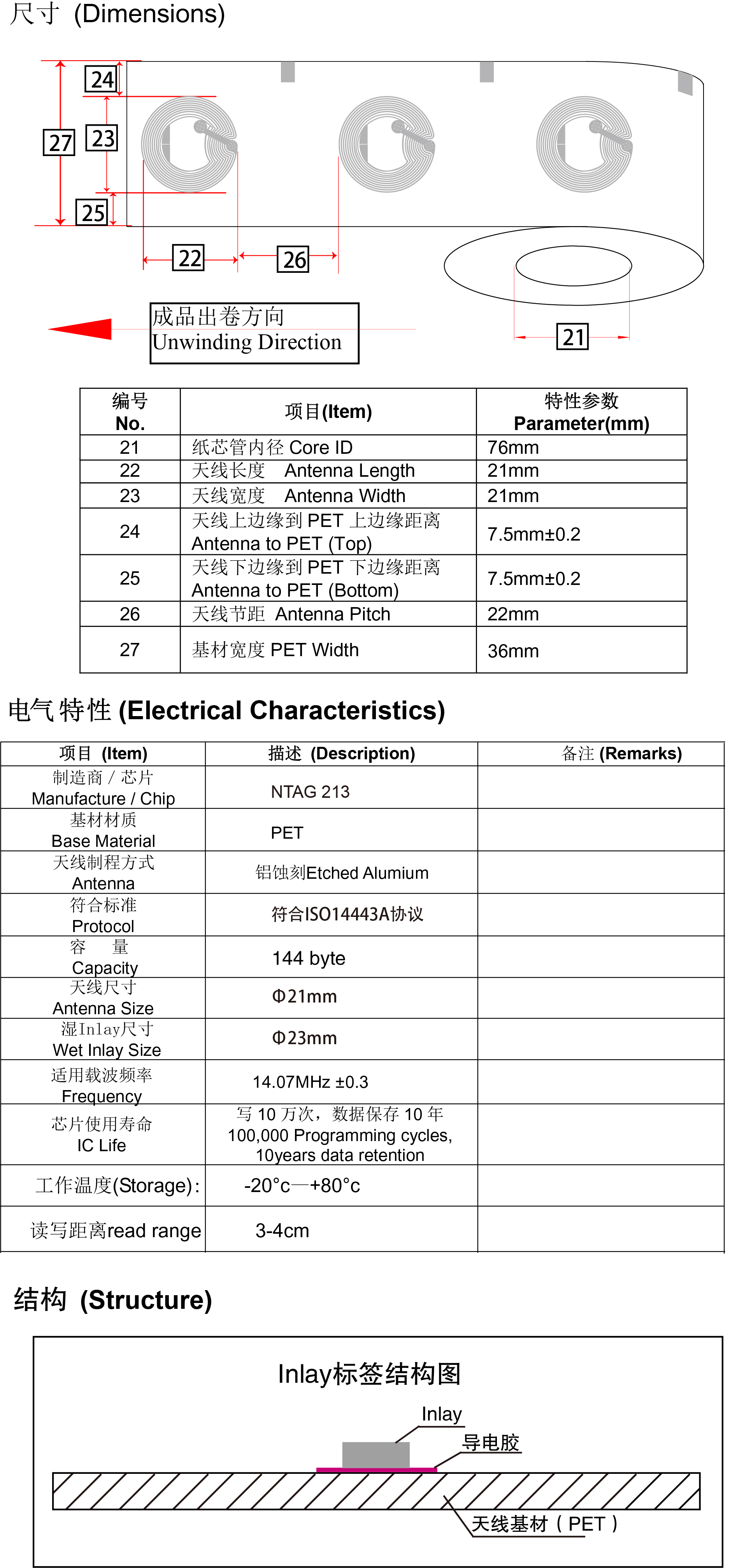 高频标签N213参数介绍